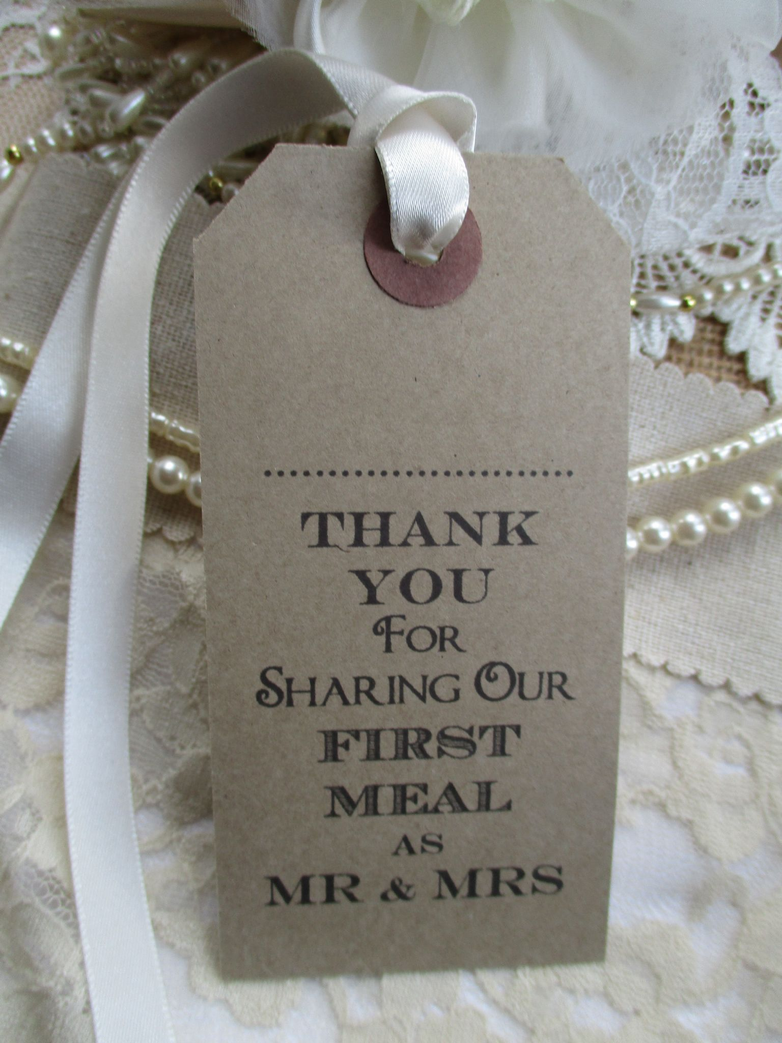 10 Wedding Name Place Tags Table Place Setting Kraft Napkin Tie 108 ...