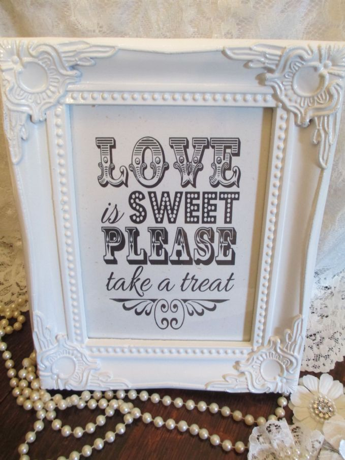 Wedding Candy Baraged White Sign Love Is Sweet Wooden