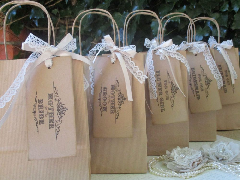 Wedding favour gift bags set of 5 for Bride gifts from bridesmaid