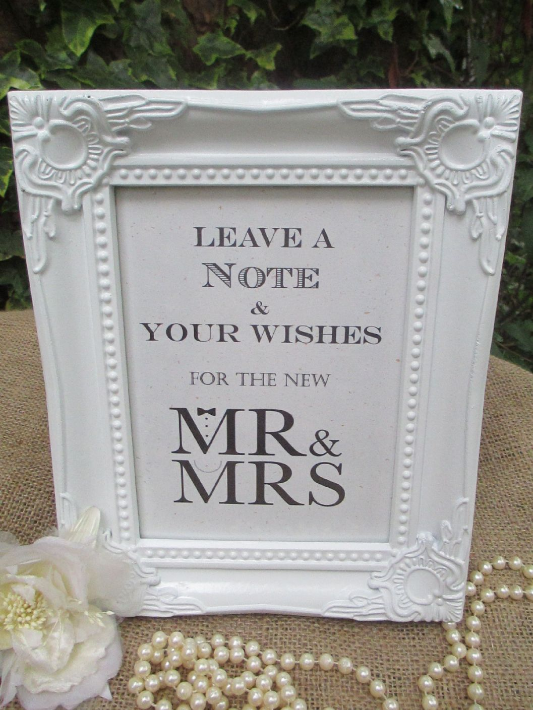 wedding wish tree sign mr mrs bow tie pearls vintage frame