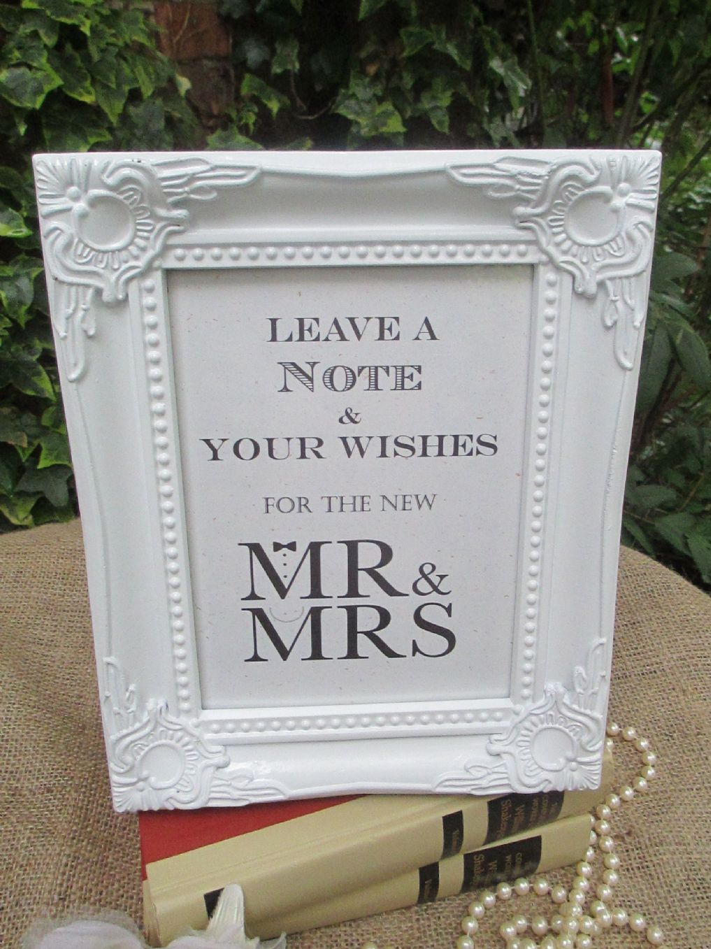 wedding wish tree sign mr  u0026 mrs bow tie  u0026 pearls vintage frame