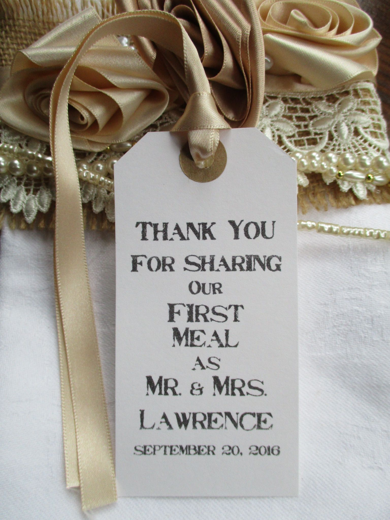 10 Rustic Wedding Table Place Setting White Tag Napkin Tie