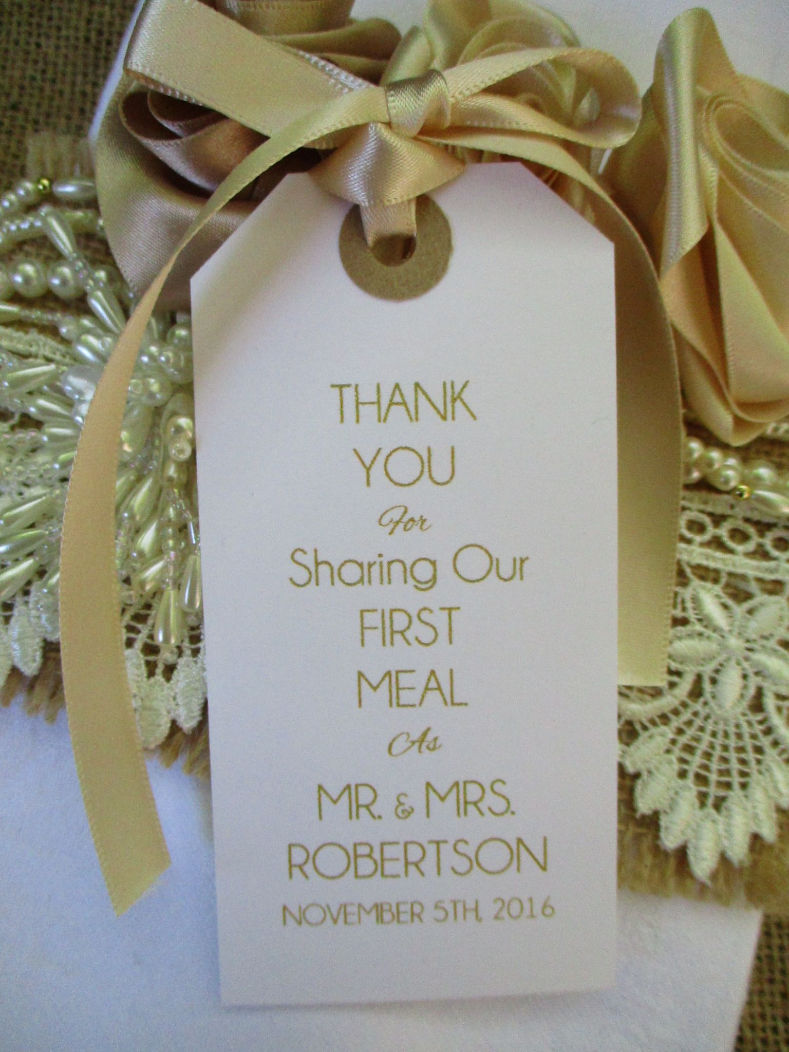 & 10 Wedding Table Place Setting Tag Napkin Tie