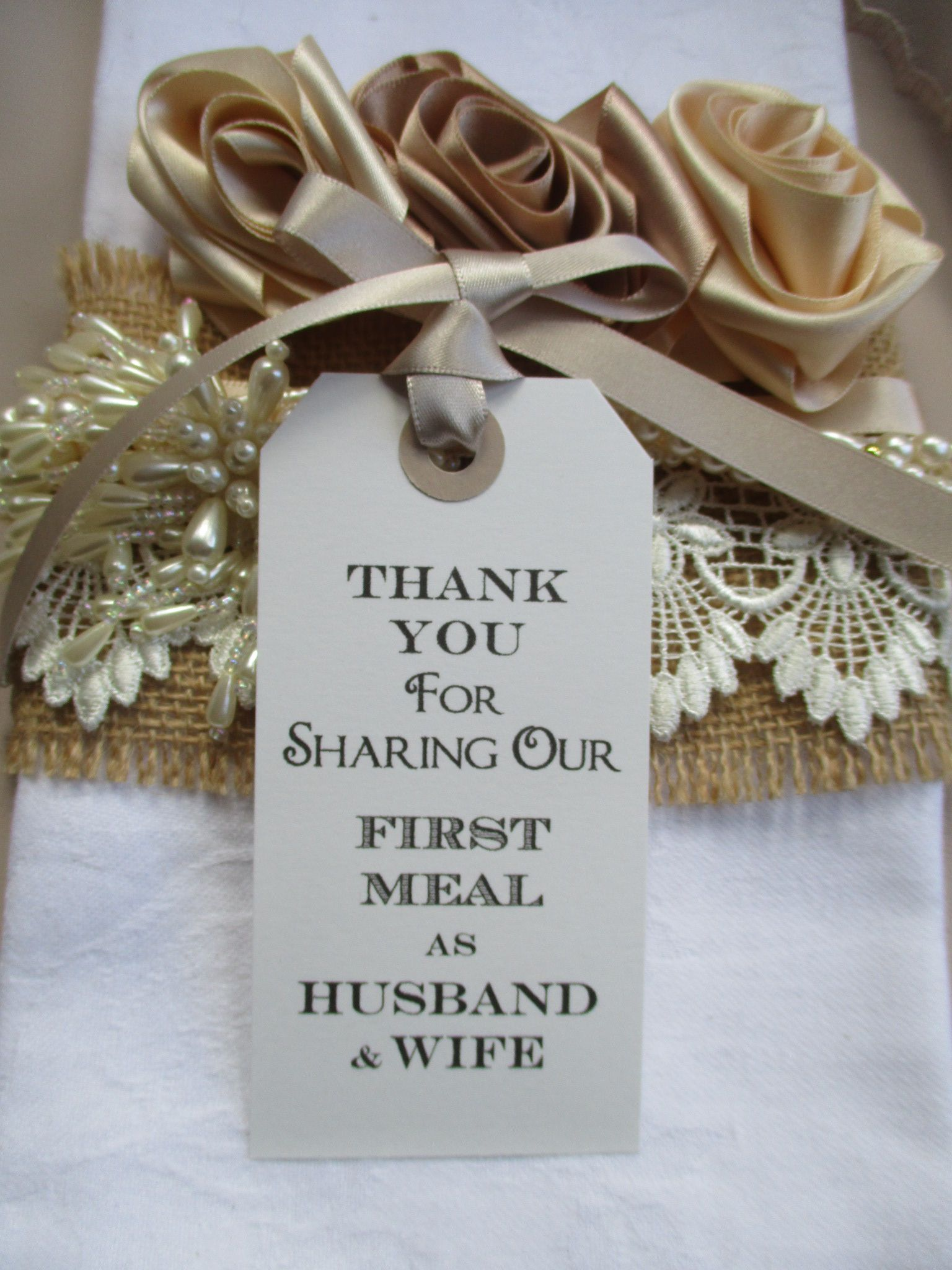10 Thank You For Sharing Our First Meal As Husband Wife Place Cards Napkin Tie White