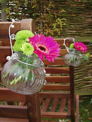 6 Vintage Hanging Glass Jar Vase Tea Light Holder Wedding