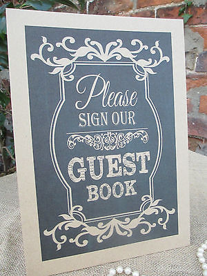 Guest Book Sign Wish Tree A4 Size Poster Shabby Chic Chalkboard Style Kraft Card