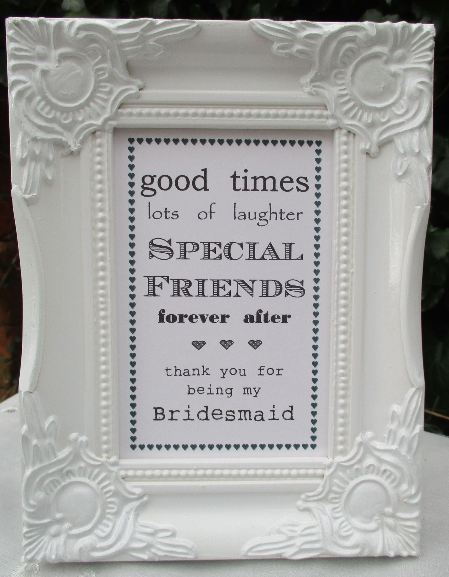 Thank You For Being My Bridesmaid Frame