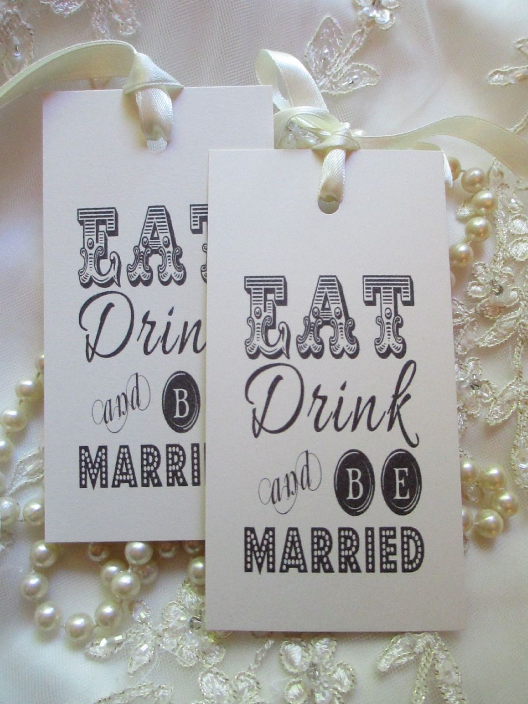 Vintage Eat Drink and Be Married Wish Tree Tags Ivory Card Wedding ...