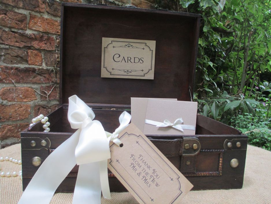 Vintage Style Wooden Wedding Card Suitcase Post Box Diy