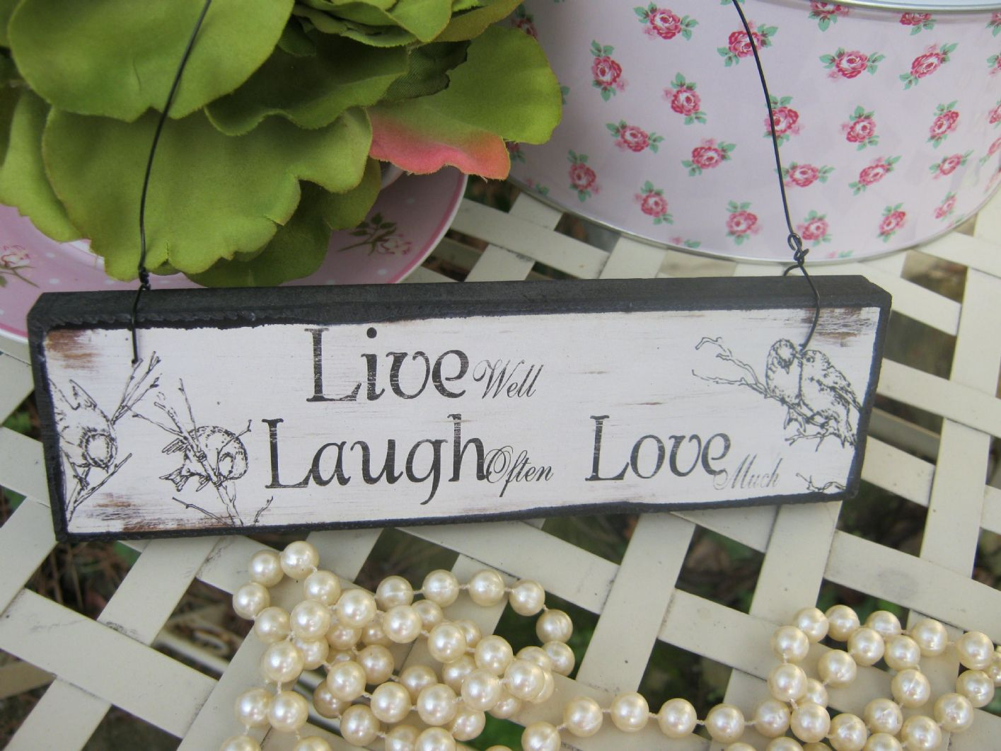Vintage Wooden Shabby Chic Live Laugh Love Hanging Sign Plaque