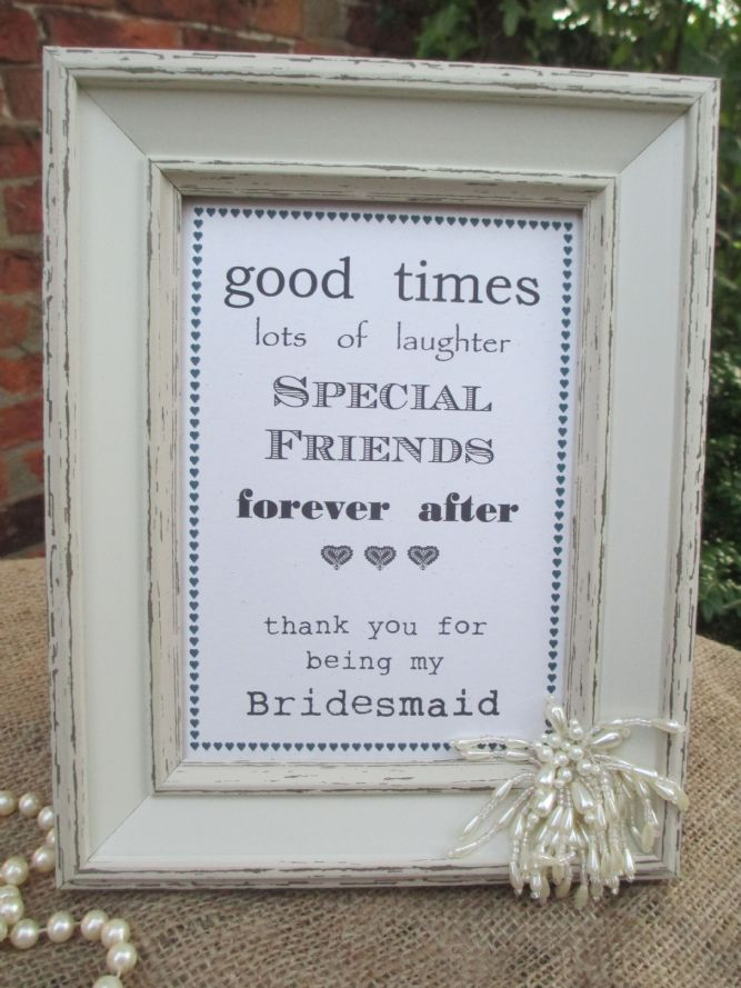 Wedding Thank You For Being My Bridesmaid Aged Wooden