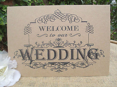 5737ddf49bade Welcome To Our Wedding Sign A4 Size Poster Shabby Chic Kraft Recycled Card
