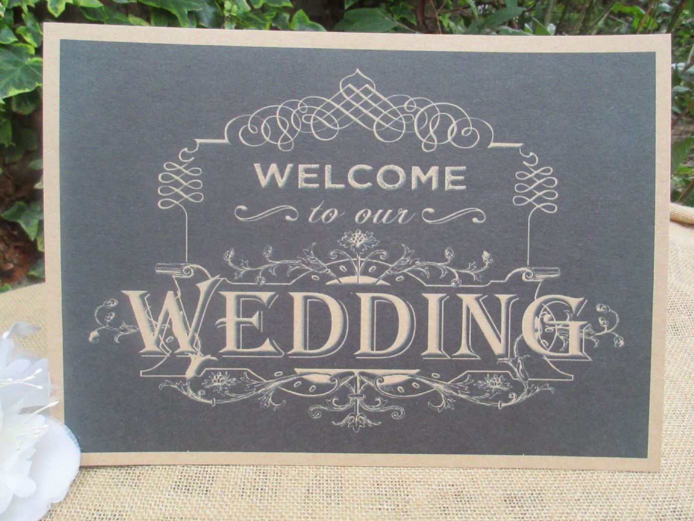 ec437145f84ba Welcome To Our Wedding Sign Chalkboard Style A4 Size Poster Shabby ...